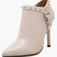 Rivets Pointed Toe Stiletto Heel Booties