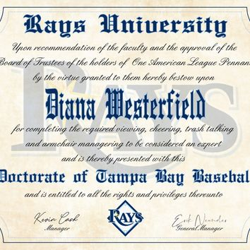 "Tampa Bay Rays Ultimate Baseball Fan Personalized Diploma - 8.5"" x 11"""