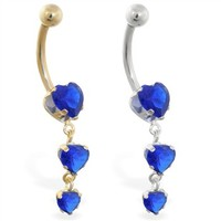 14K Gold belly ring with triple heart Sapphire dangle