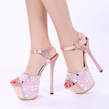 Rhinestone Platform Peep Toe Ankle Wrap Stiletto High Heels Sandals