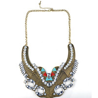European Fasionable Big Brand Necklace Alloy Zircon Exaggerated Necklace   golden