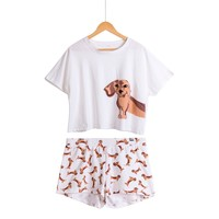 Dachshund Dog Print Two Pieces Pajama Suits