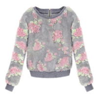 ROMWE | Floral Knitted Mohair Jumper, The Latest Street Fashion