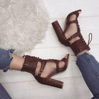 Lace UP Ankle Wraps Open Toe High Chunky Heels Sandals