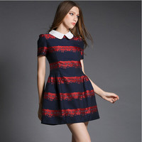 Block Patterned Short-Sleeve Peter Pan Collar Pleated Dress