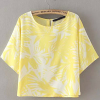 Yellow Leaves Print Short Sleeve Cropped Top