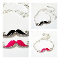 Mustache  Silver Necklace, Pink Or Black Silver Rhinestone Mustache Pendant  Chainmaille Necklace, Choose your color.
