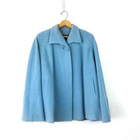 Pea Coat 60s Mod Caplet Trench Peacoat Dusty Blue Boucle One button Swing Coat 60s Sycamore Winter Coat Boho Collared Louannes Vintage Large