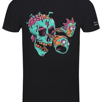 Rick And Morty Eyeball Skull Men's Black T-Shirt
