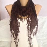 Brown Scarf - Elegant Brown Lace Scarf - Cotton  Scarf Shawl