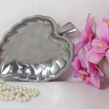 Vanity Tray: Stainless Steel Miniature Tray / Leaf Trinket Dish, Business Card Holder, Made in Japan