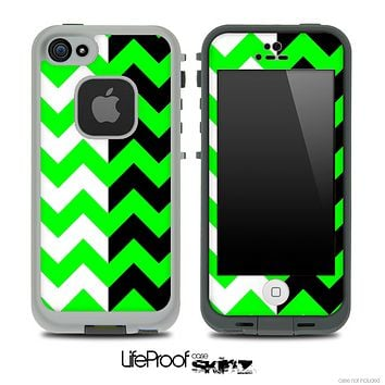 Two Toned Chevron Pattern Lime Green Skin for the iPhone 5 or 4/4s LifeProof Case