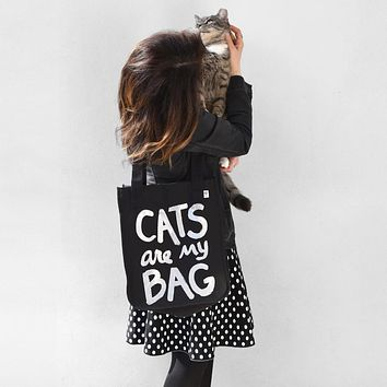Organic Cats Are My Bag Market Tote - Black