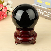 """4"""" Natural Black Obsidian Sphere Large Crystal Ball Healing Stone With Wood Stand For Home Holiday Gift Craft Ornament"""