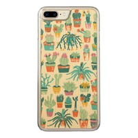Colorful Cactus Flower Pattern Carved iPhone 7 Plus Case