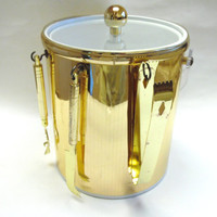 Shiny Gold Ice Bucket With Tools Tongs Opener