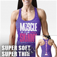 Muscle is New Skinny-120 (SuperSoft/Thin): Purple Bodybuilding, Powerlifting, Weightlifting and Workout Clothing [W-RCBK-120-PL] - $25.99 : Monsta Clothing Co, Bodybuilding Clothing, Powerlifting Apparel, Weightlifting Shirts, Workout Clothes and MORE