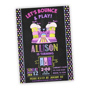 Girl Bounce House Birthday Invitation - Pink Purple Chalk Bounce Invitations - Girls Bounce Party - Jump Party for Girls - Polka Dots Castle