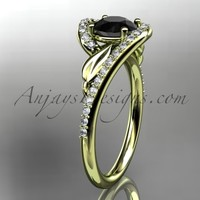 14k yellow gold diamond leaf and vine wedding ring, engagement ring with a Black Diamond center stone ADLR317