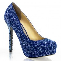 Blue Prestige Rhinestone Covered High Heel Pump - Fabulicious by Pleaser from ShoeOodles