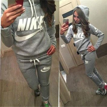 Casual Print Hoodie Sweater Pants Trousers Set Two-Piece