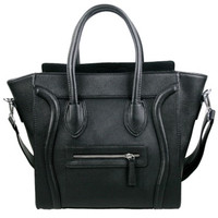 All Black Structured Look Smile Handbag