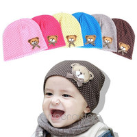 Cute Infant Baby Boys&Girls Kids Bear Polka Dots knit Beanie Candy Color Hat Cap = 1958491460