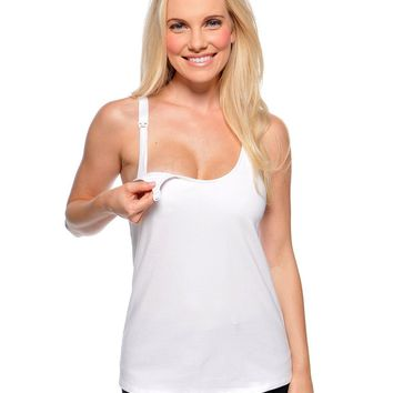 Cami Sutra™ Nursing Tank with built-in bra White
