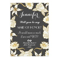 Elegant Chic Gold Black Flowers Maid of Honor Card