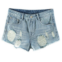 Wash Blue Ripped Denim Mini Shorts