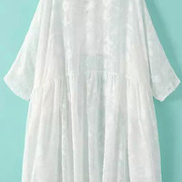 White V-Neck 3/4-Length Sleeves Chiffon Dress