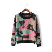 Mohair Long Sleeve Knitted Sweater Top