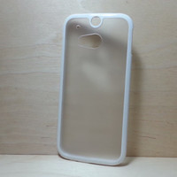 HTC One M8 Case Silicone Bumper and Translucent Frosted Hard Plastic Back - White
