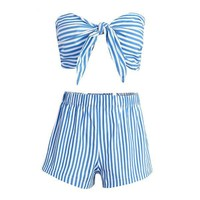 Bow Blue Striped Sleeveless Jumpsuits Romper Summer