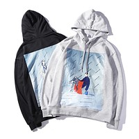 Balenciaga 2018 new double-sided printed hooded drawstring loose sweater F-A-KSFZ