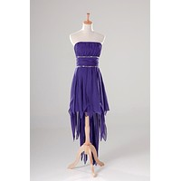 High Low Cocktail Dress Purple 2017 Strapless Beaded Party Dress Short Front Long Back Gowns