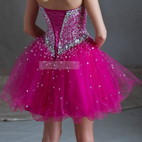 Sequin Prom Dress Fuchsia Purple Short Homecoming by WeddingBless