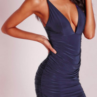 Dark Blue Korinne Fitted Party Dress