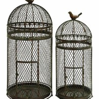 "Benzara Metal 30"" Bird Cage Crafted with Neted Pattern - Set of 2"