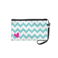 Blue and White Chevron + Hot Pink Heart Wristlet from Zazzle.com/shaleceelynne*