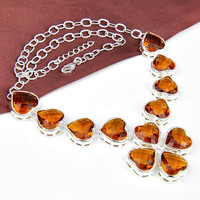 Made with Lucky Elements High Quality 925 Silver heart shape Orange Crystal necklace N0519