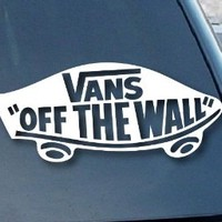 """Vans Off the Wall Car Window Vinyl Decal Sticker 7"""" Wide (Color: White)"""