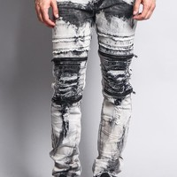 Bleach Washed Biker Denim Jeans