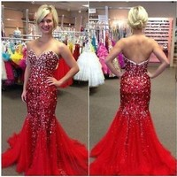 Long Mermaid Formal Prom Dresses Party Ball Evening Pageant Wedding Gown