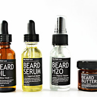 BEARD CARE SET. beard oil + beard serum + beard H2O spray + beard butter balm. 100% natural beard care set.
