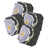 Emanuela Carratoni Black and Gold Agate Coaster Set