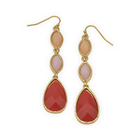 Peach Pink and Orange Drop Fashion Earrings