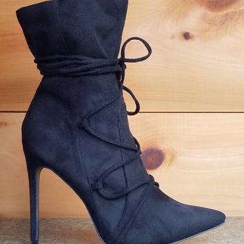 """Destiny Black FX Suede Pointy Toe 4.5"""" Heel Lace Up Design Ankle Boot"""