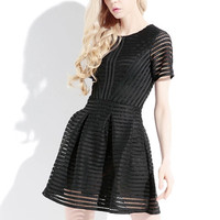 Black Sheer Lace Striped Flare Dress