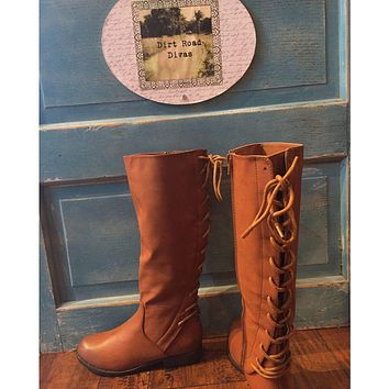 Brown Lace Up Riding Boots